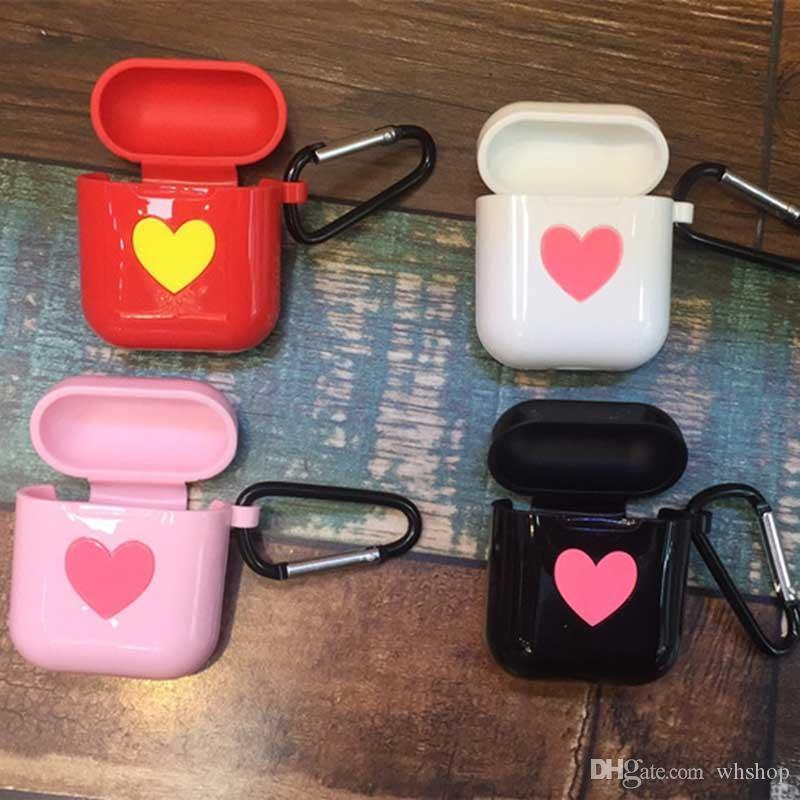 الوردي القلب لينة تبو لقضية أبل Airpods سيليكون مع حزام شنق هوك غطاء حامي لحالة الهواء القرون سماعة