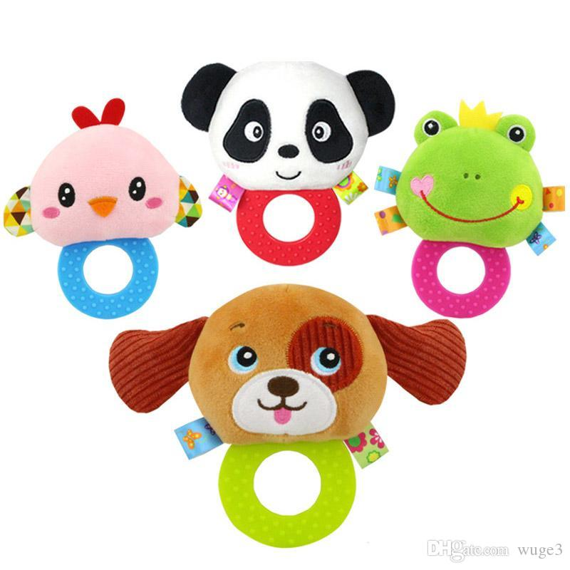 Newborn Rattles Toy Hand Bell Toddler Infant Rings Interactive Cute Cartoon Animal Plush Toys Baby Early Education Gift