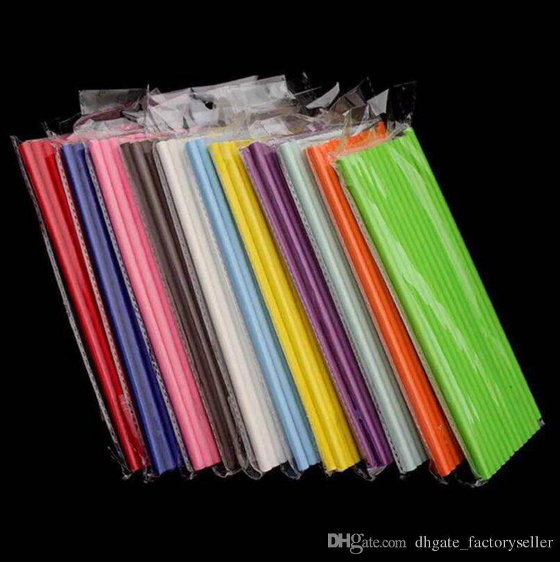 19.7 cm desechables té de burbujas gruesas tiras de papel de beber arco iris para la barra del banquete de boda de cumpleaños suministros LX3462