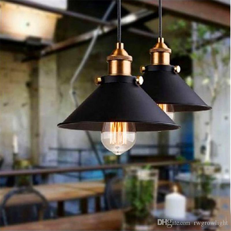 Lámpara de techo American Village Almacén retro pendiente de la luz Loft Industrial Bar Bar Restaurante Pequeño Negro Falda Led