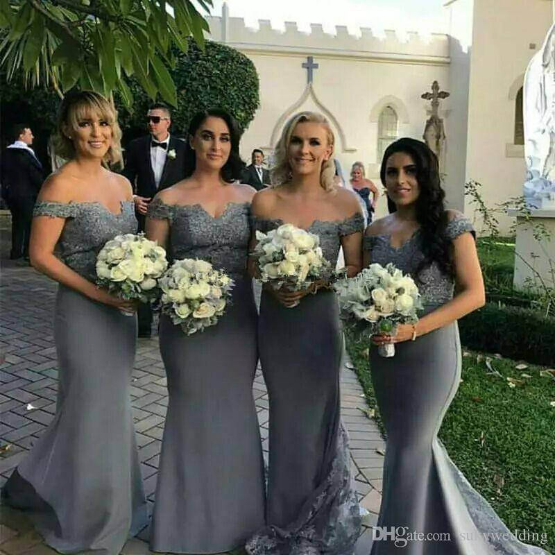 best sneakers best deals on new items Elegant Plus Size Mermaid Bridesmaid Dresses Dark Gray Off Shoulder Lace  Satin Wedding Guest Dresses Plus Size Party Dresses Evening Wear Maternity  ...