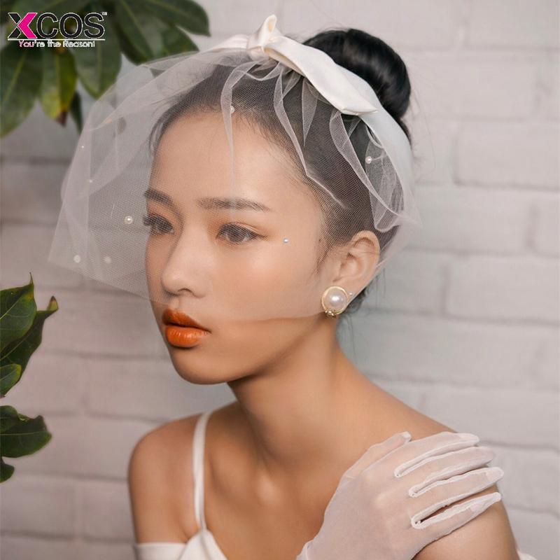 Toptan 2018 Vintage Tül Inciler Gelin Şapka Saç Yüz Peçe Saç-Fascinators Başlığı Parti Birdcage Peçe Düğün