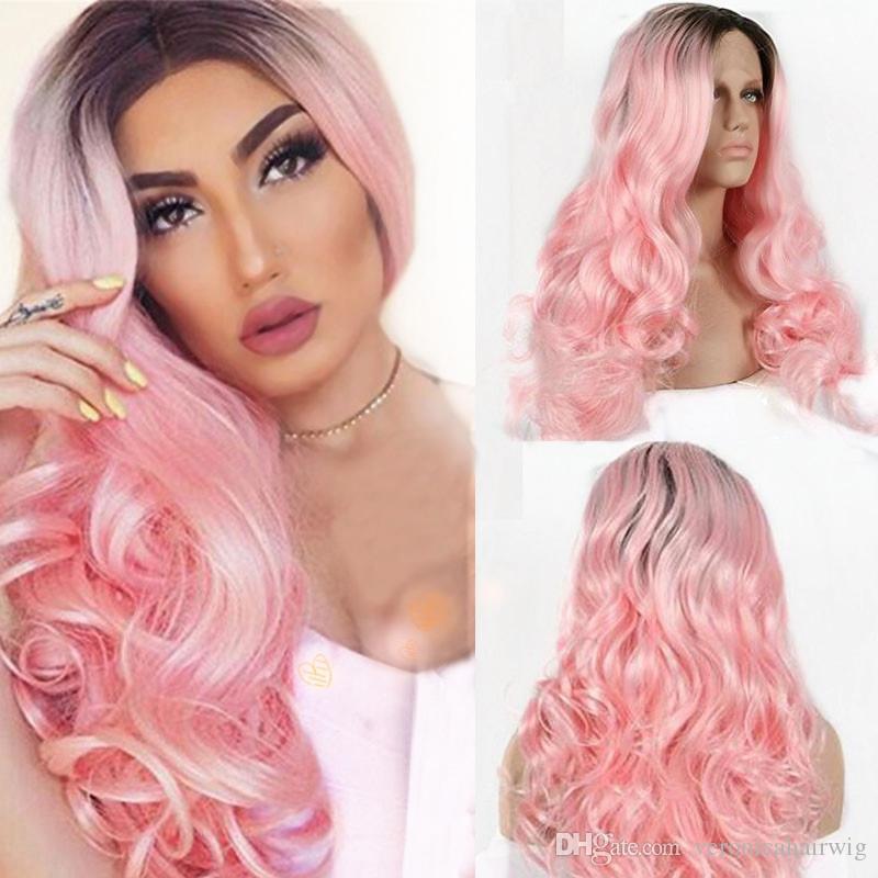Charming Hot 180% Densità Ombre corpo rosa capelli dell'onda superiore Glueless sintetiche termoresistenti merletto della parte anteriore parrucche per Cosplay Donna