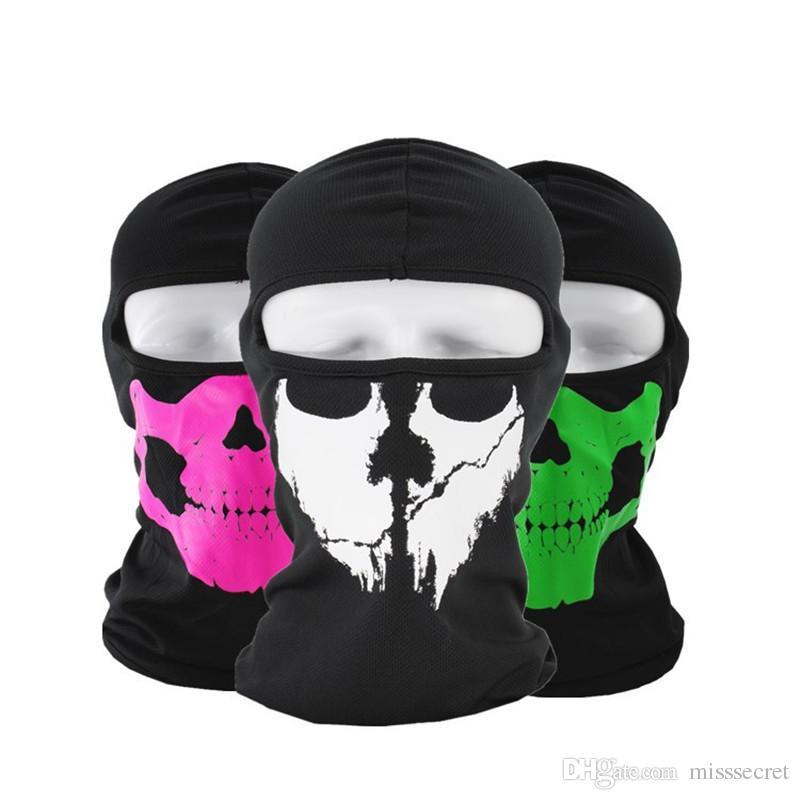 Cadılar bayramı Tam Yüz Maskesi Kafatası Baskı Motosiklet Kaput Kap Yüz Maskesi Biker Windproof Boyun Eşarp Şapkalar