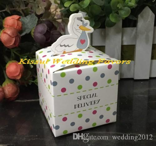 (100pcs/lot) Baby Shower Party Gift box of Little Special Delivery Stork Favor Box for baby candy box and baby birthday favor