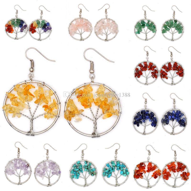 Naturalny kryształ kruszony kamień drzewo life wisiorek kolczyki 10 style kryształowe kolczyki dla kobiet