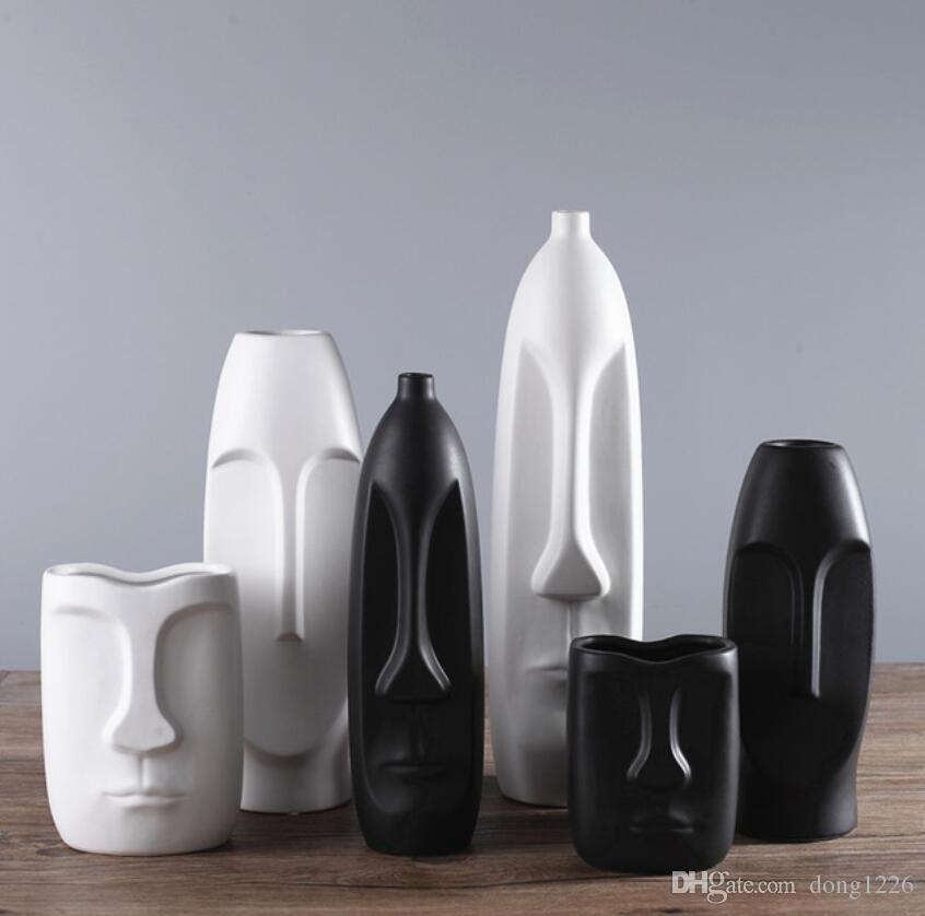 prägnante Keramik kreative Gesicht Kopf Form Blumen Vase Topf Wohnkultur Handwerk Zimmer Hochzeit Dekoration Handwerk Porzellan Figur