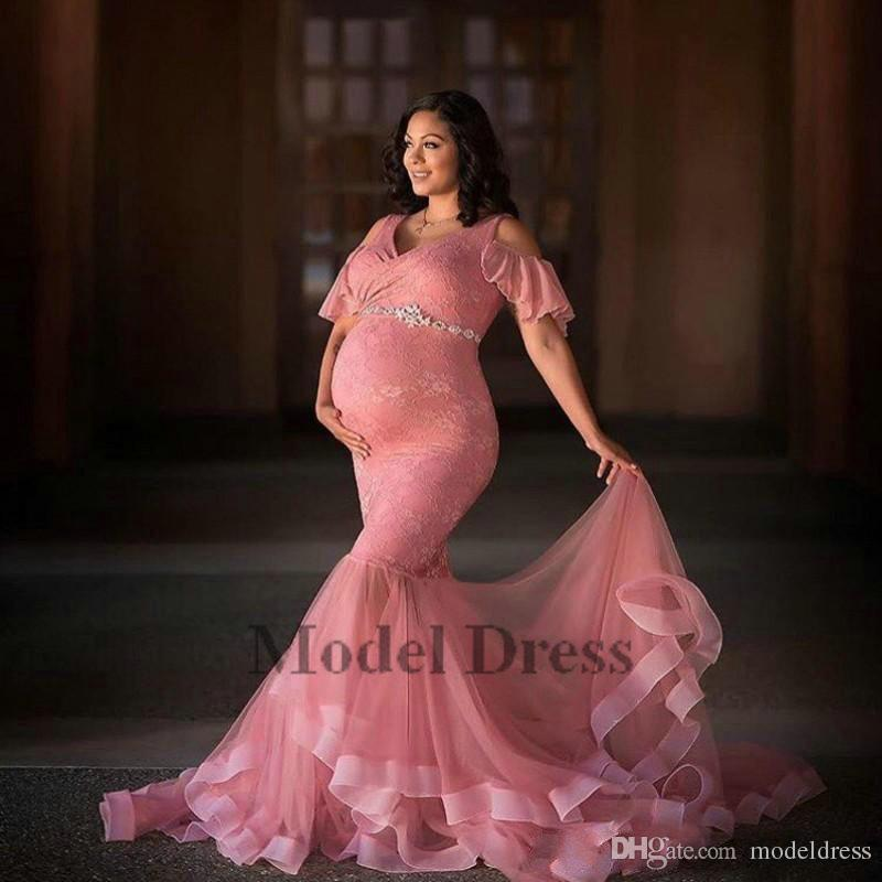Dusty Pink Long Maternity Evening Dresses For Pregnant Women Lace Tulle Mermaid V Neck Short Sleeves Prom Gowns With Beading Sash