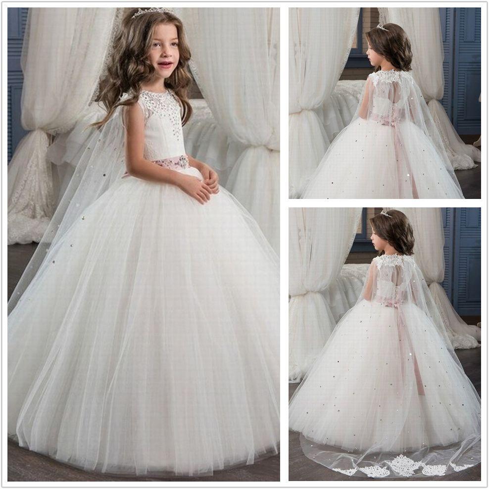 Romântico vestido de baile de tule Beading Flower Girl Dress O-Neck para casamentos menina Lace Up Partido Comunhão Vestido Pageant vestido st155