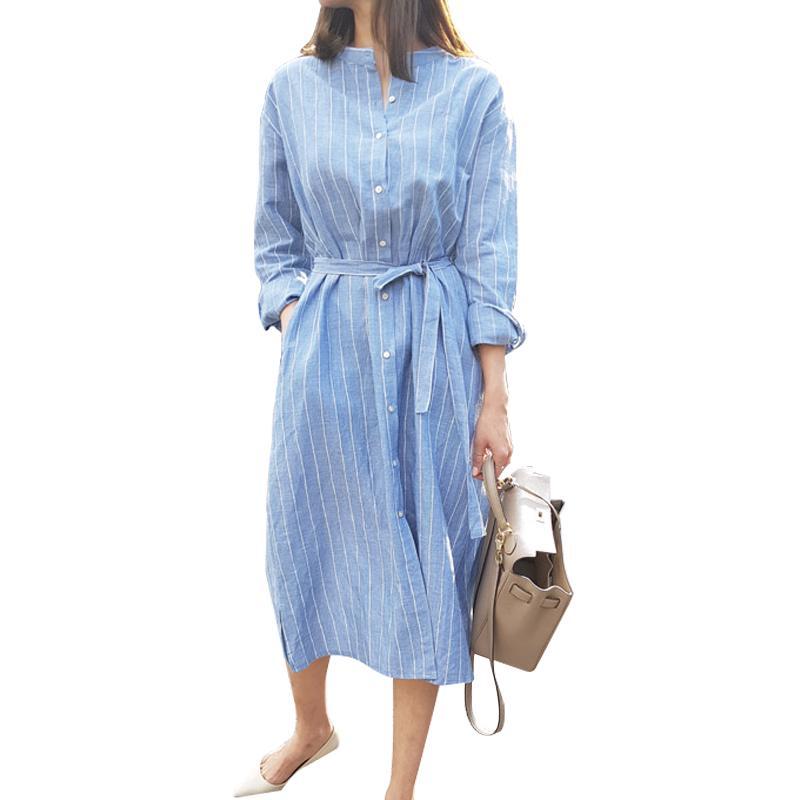 Mulheres Casuais Blusa Longa 2018 Outono Listras Azuis Stripe Longo Botão de Manga Camisa Lady Escritório Camisa Moda Feminina Streetwear