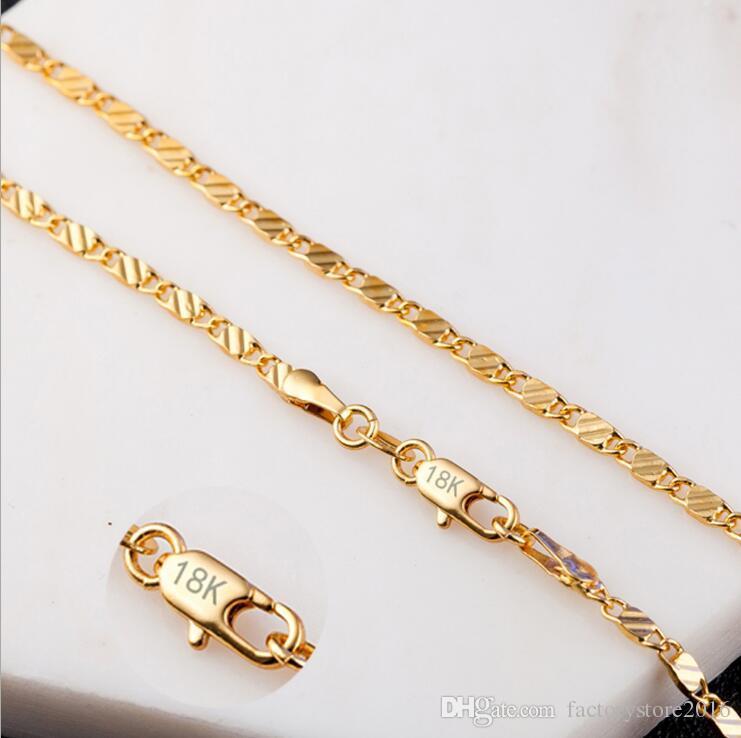 2 ملليمتر الأزياء الفاخرة إمرأة مجوهرات 18 كيلو الذهب مطلي قلادة سلسلة 925 الفضة مطلي سلاسل القلائد هدية الجملة الملحقات