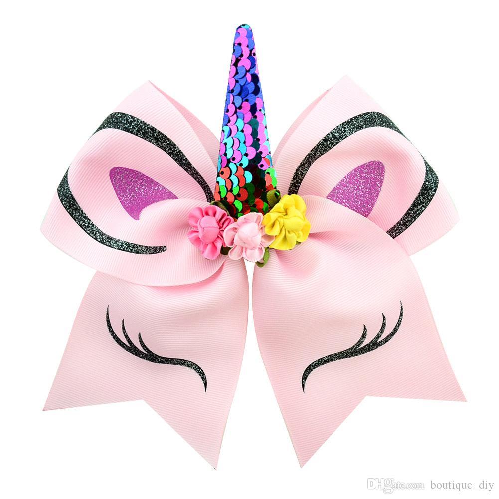 VENTA CALIENTE de princesa Girl unicornio Cheer arco Con Ponyrtail titular arco de la cinta del pelo de la tela que anima arquea Hairbands chica con los clips H63