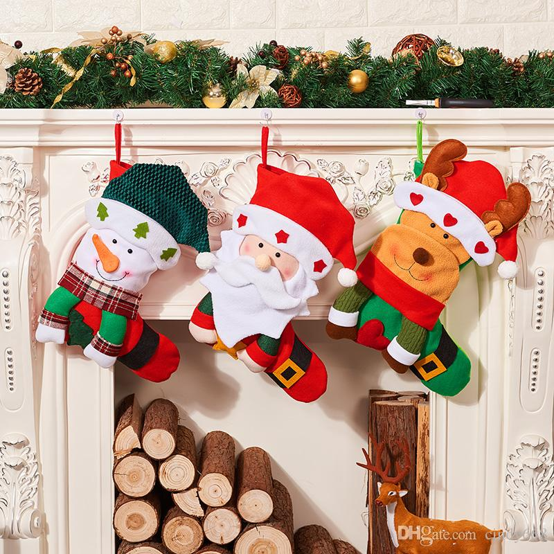 2018 New Christmas Pendant Decorations Stockings Gift Bag For Children Elk Candy Pouch Family Party Ornaments decoracao de natal