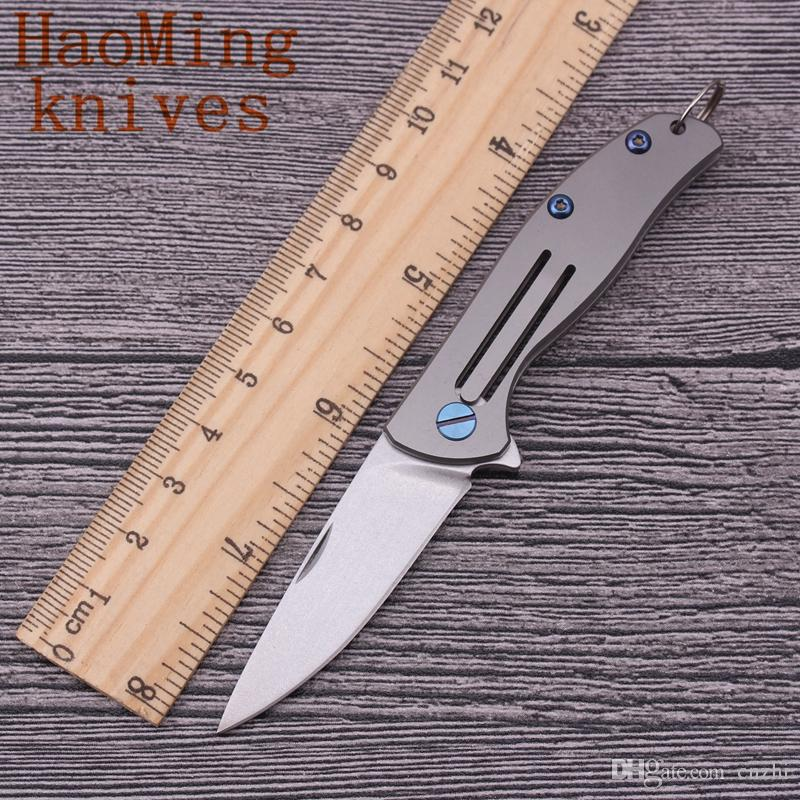 Key ring pocket folding knife D2 blade camping survival key chains fruit knives Titanium Alloy Handles outdoor hunting EDC tools Kitchenware