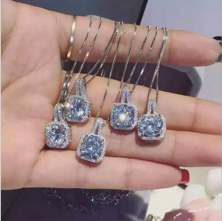 Mode Simple Bijoux En Argent Sterling 925 Cut Rond 5A Zircone Cubique CZ Partie clavicule Chaîne Diamant Femmes Mignon Collier Pendentif Cadeau