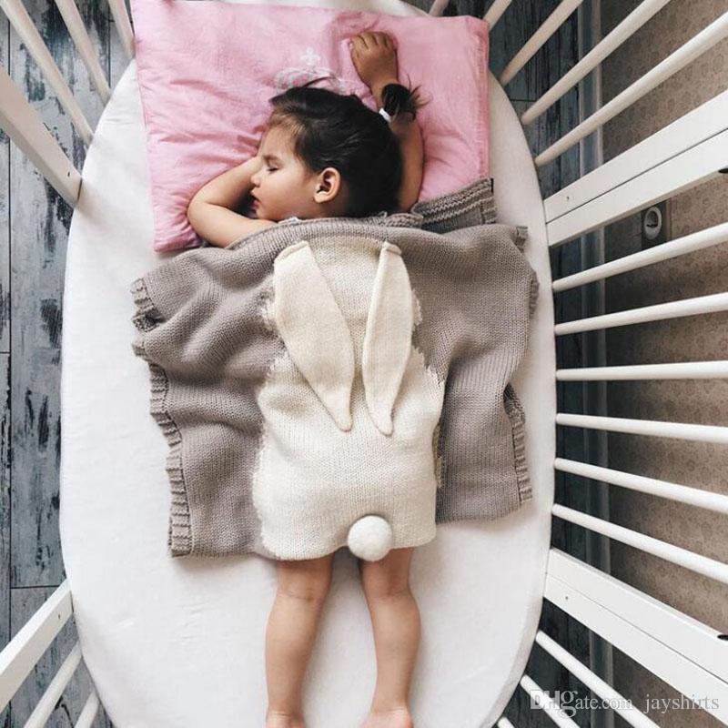 Cobertor Do Bebê Bonito Orelha de Coelho Swaddling Cobertores Tapete de Praia de Verão Tapete De Tricô Cobertor Para O Bebê 80 * 100 CM