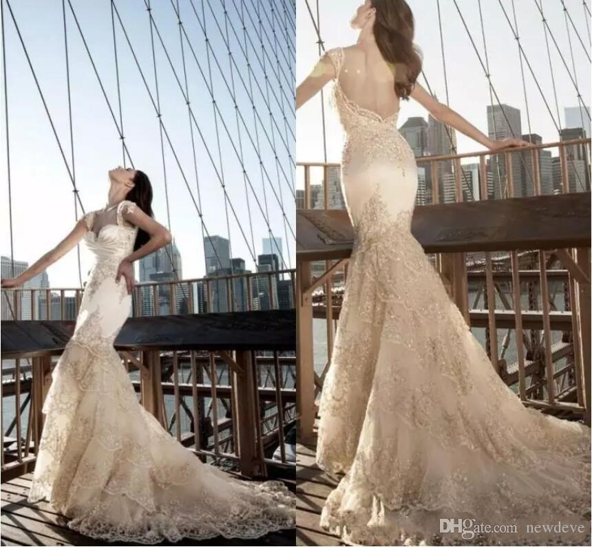 Pnina Tornai 2020 Wedding Dresses Romantic Backless Gorgeous Mermaid Bridal Gowns Bling Lace Crystal Tiered Sweep Train Wedding Dress
