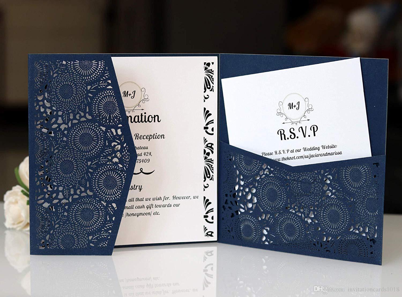 Compre Tarjetas De Invitaciones De Boda Cuadradas Azul Marino De 3 Pliegues Con Cinturón Para Bodas Compromiso De Cumpleaños Tarjetas De Invitaciones