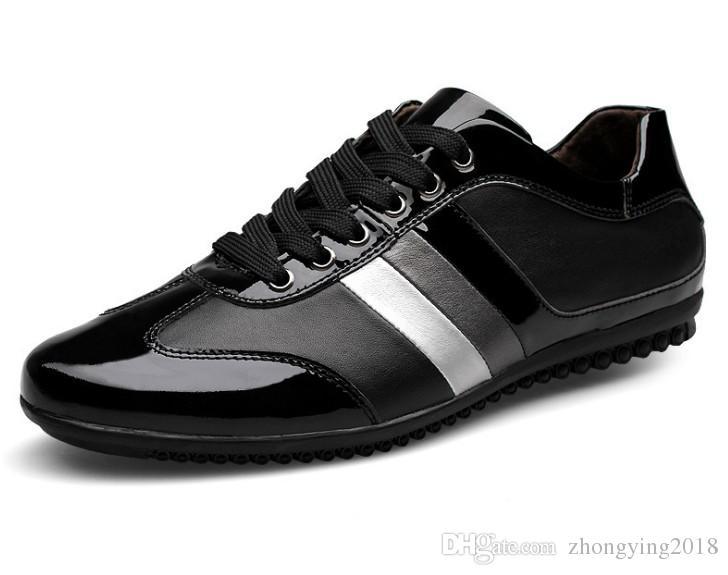 Подлинная лакированная кожа мужская обувь большой размер кроссовки лоскутное мужская досуг ходьба сапоги полосатый цвет дыхания квартиры для мужчин zy802