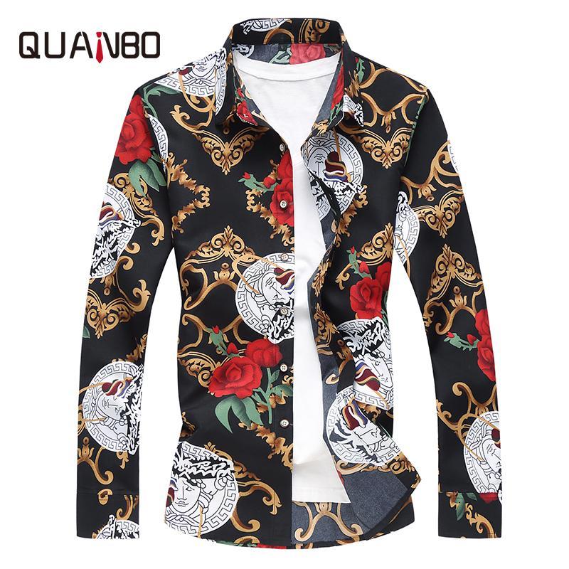 2018 cómodo camisa de manga larga solapa del otoño hombres de la moda juvenil más sizeM-7XL camisa de la flor de algodón superior de la flor de Hawai