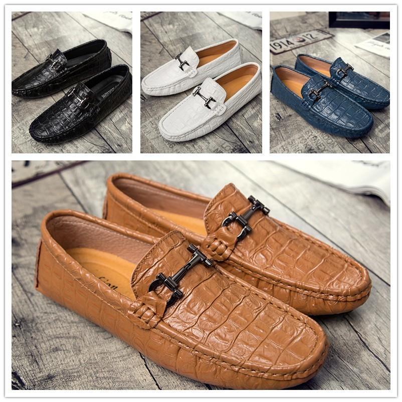 2018 Melhor Qualidade de Couro Real de Couro Dos Homens Sapatos Casuais Designer de Luxo Oxford Mocassin Sapatos Zapatos Hombre Tamanho 38-44