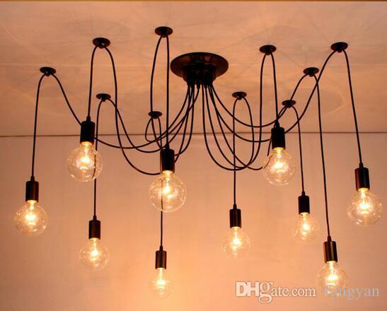 Modern Large industrial spider Black vintage LED pendant light Loft LED 14 lights E27 pendant lights for living room restaurants bar