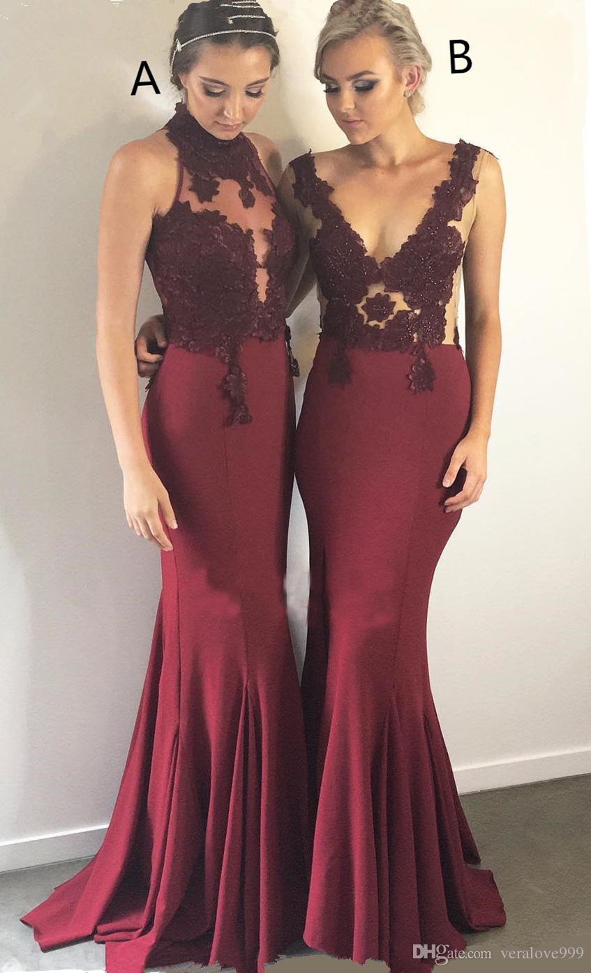 Burgundy Lace Bridesmaid Dresses 2018 Mix Style Sexy Maid of Honor Dresses junior bridesmaid dresses Abiti da damigella d'onore