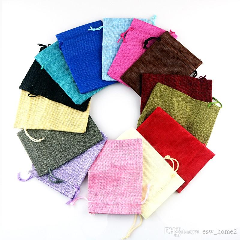 Mixed Colors Fabric bags favor linen bag small drawstring gift bag Wedding charms jewelry packaging bags