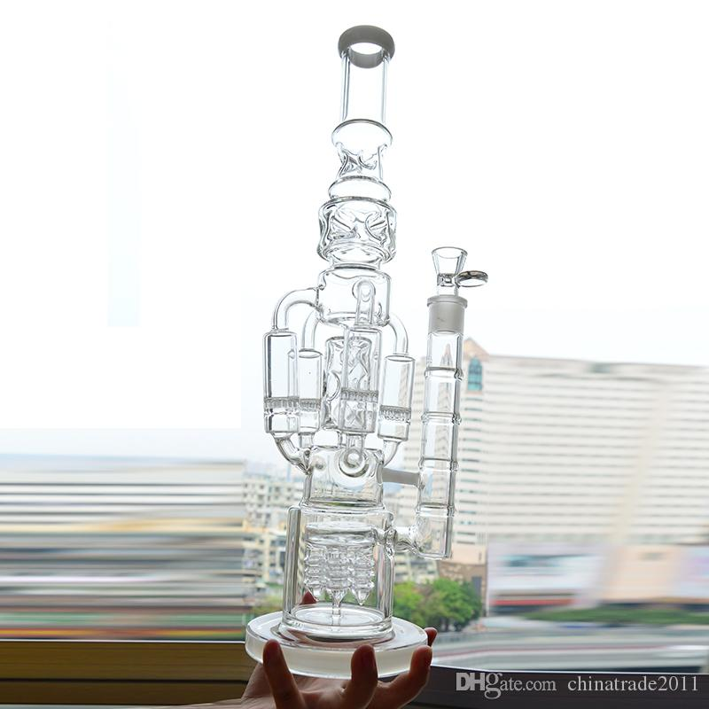 """Big Glass Water Bong Recycler Oil Rig 4 Rocket Honeycomb Perc Bubbler Dab Rig 18"""" inches Functional Ice Catcher Hookah Pipe Beaker Bong"""
