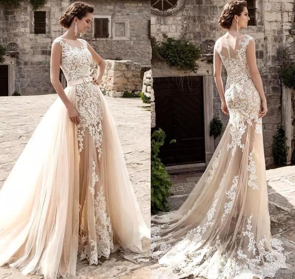 Sheer Neck Champagne Lace Overkirt Bröllopsklänningar Appliques Tulle Bridal Dresses Plus Storlek Bow Sash Bröllopsklänning för Bride Robe de Mariée