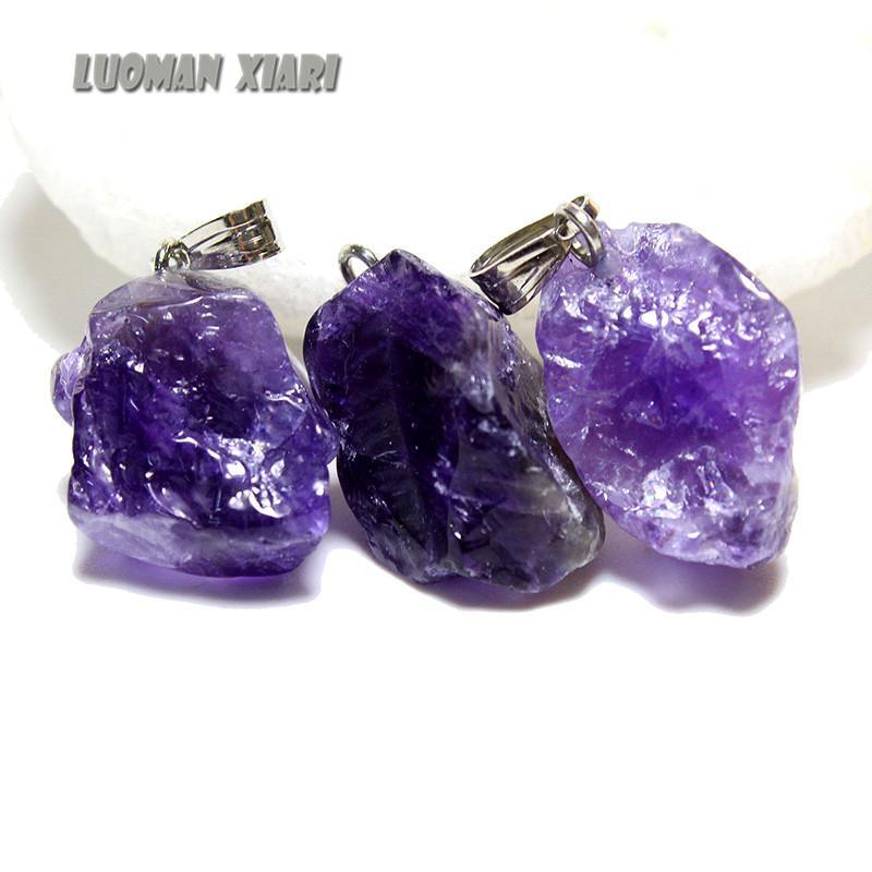Pequeños encantos de piedra natural Colgante Amatistas únicas Cristal púrpura Mujeres irregulares Collares de bricolaje para hacer joyas 10pcs Regalo de Navidad