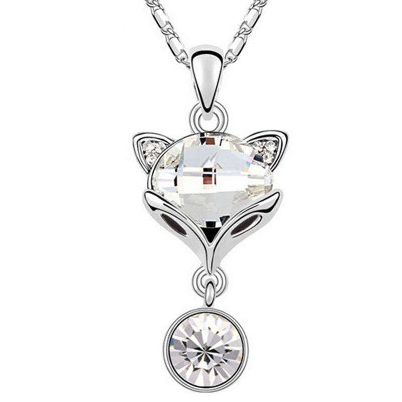 Cristal de Swarovski Elements Fox mignon collier pendentif pour femmes filles chaîne Charm plaqué or blanc 12590