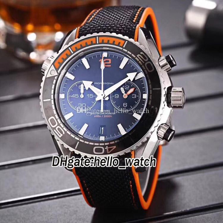 Cheap Planet Ocean Co-Axial 600M 215.32.46.51.01.001 Quartz Chronograph Black Dial Ceramic Bezel Mens Watch Leather Strap Gents New Watches