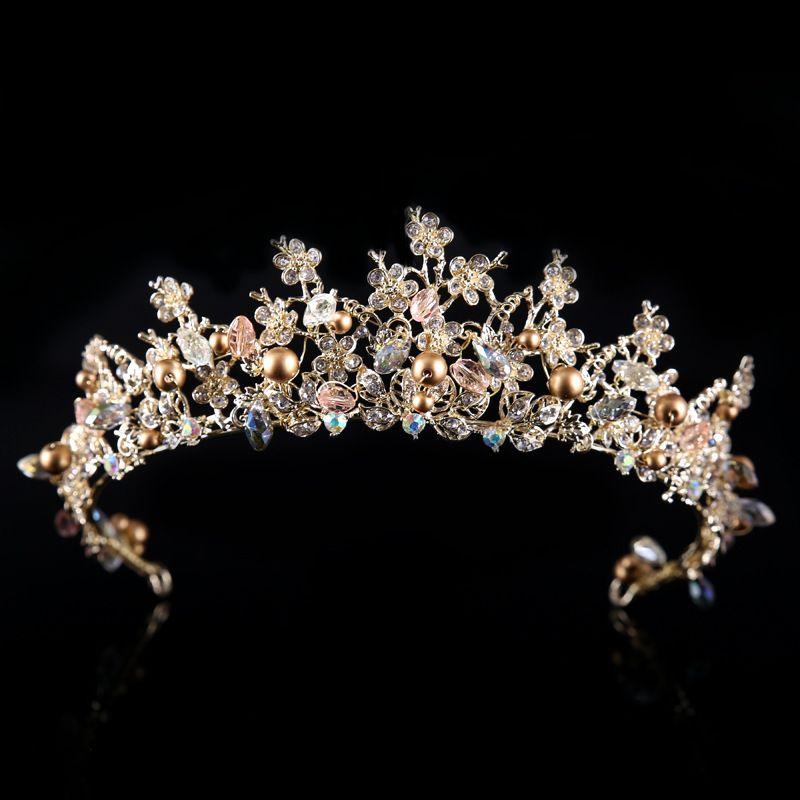 Frcolor wedding tiara and crown rhinestone flower bridal princess crown with earrings