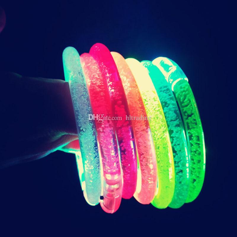 LED Bracciali Glitter Glow Flash Light bastoni luce lampeggiante fino Bracciale Disco Bar partito della decorazione di giocattoli per bambini C4559