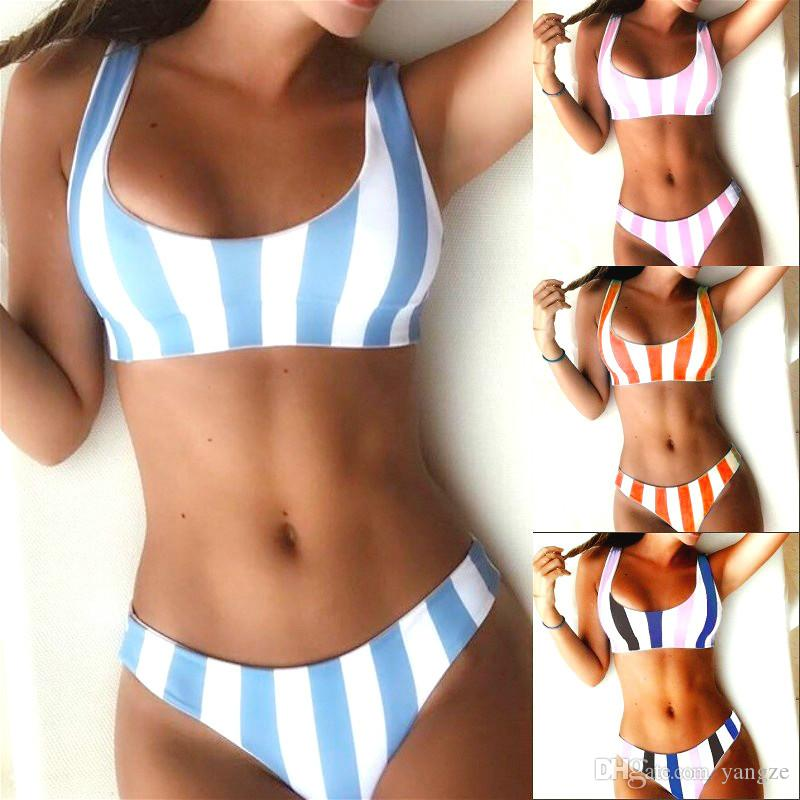 Womens Retro 90s Striped Swimsuits with Tank Top Sports Bra Bikinis Set Low Waist Padded Tanga Push up Swimwear Beachwear CK0505