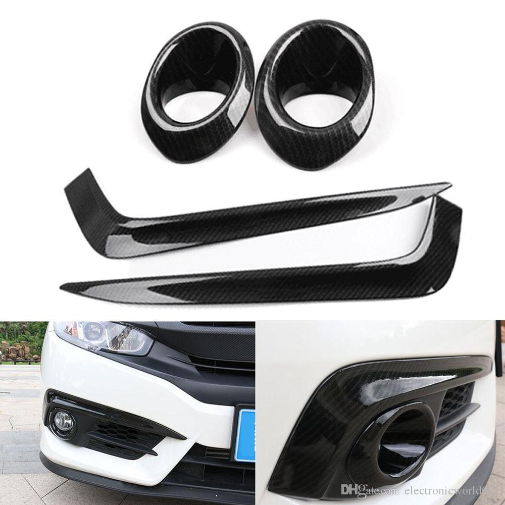 4pcs Front Fog Light Lamp Cup Cover strip Carbon Fiber For Honda Civic 2016-2017