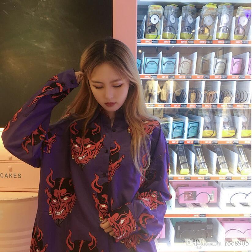 Korean version of ulzzang spring and summer female Harajuku BF wind demon print Japanese loose shirt dress sunscreen shirt tide