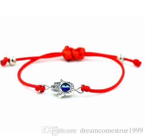 20 unids / lote Lucky String Hamsa Mano Evil Eye Lucky Red Cord ajustable pulsera joyería DIY NUEVO
