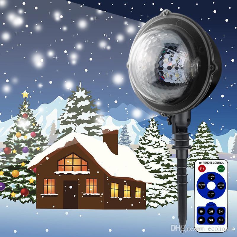 LED 방수 움직이는 스노우 레이저 프로젝터 램프 크리스마스에 대 한 눈송이 LED 무대 빛 새 해 파티 가벼운 정원 램프