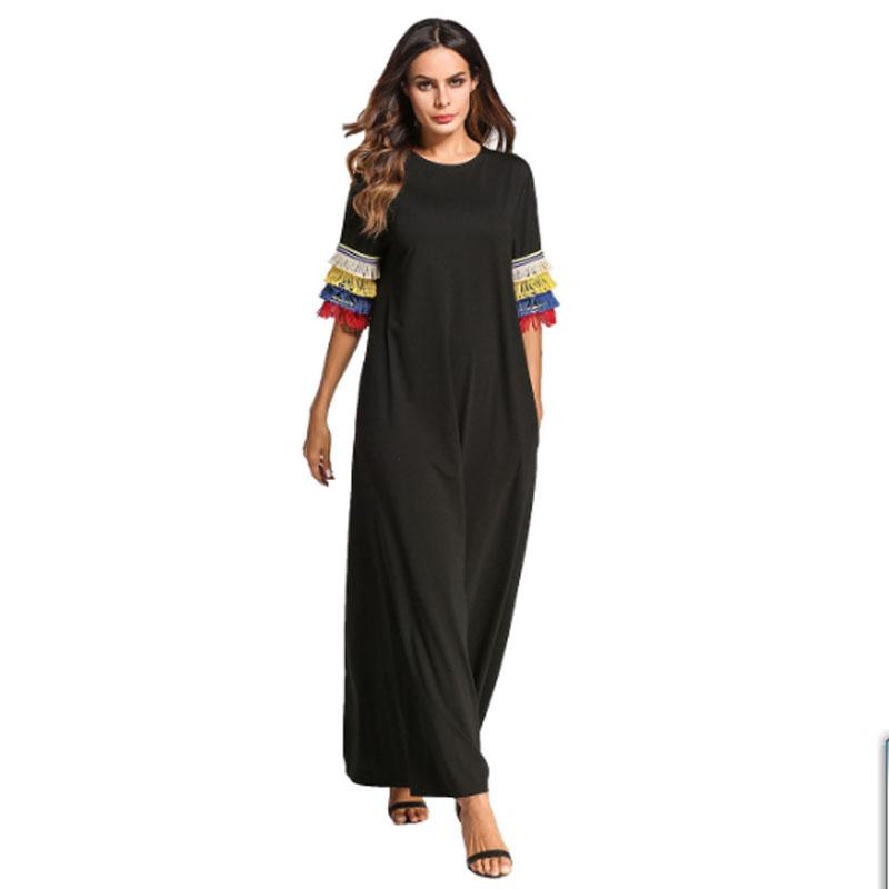 Artı boyutu Kadınlar Avrupa moda püskül kollu müslüman elbise bodycom boho abaya ofis balo uzun maksi elbiseler bırak gemi