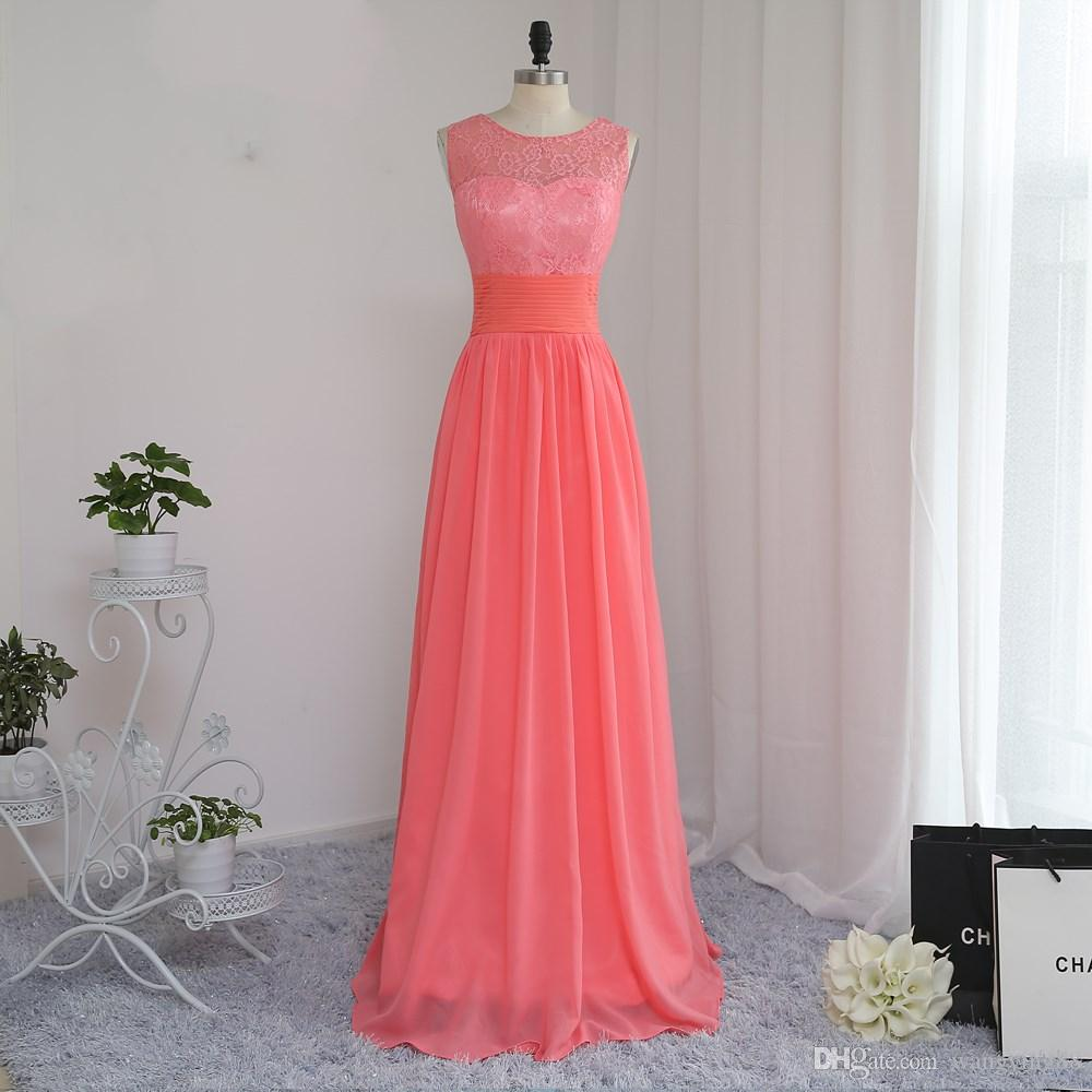 2018 Cheap Bridesmaid Dresses Under 50 A Line Scoop Floor Length Coral Chiffon Lace Wedding Party Dresses Destination Wedding Bridesmaid Dresses