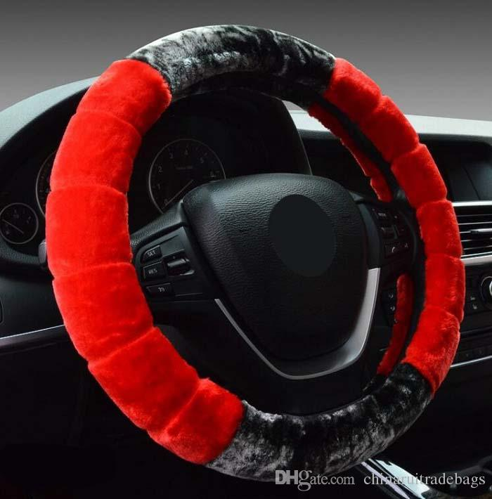 38cm Universal Car Steering Wheel Cover antislip fashion plush short fur soft warm design