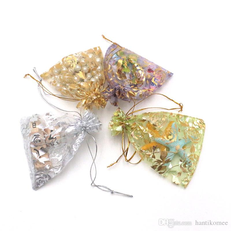 Jewelry bag transparent yarn gauze elements bronze rose Eugen gift candy bag gift packaging 1000pcs 9*12cm