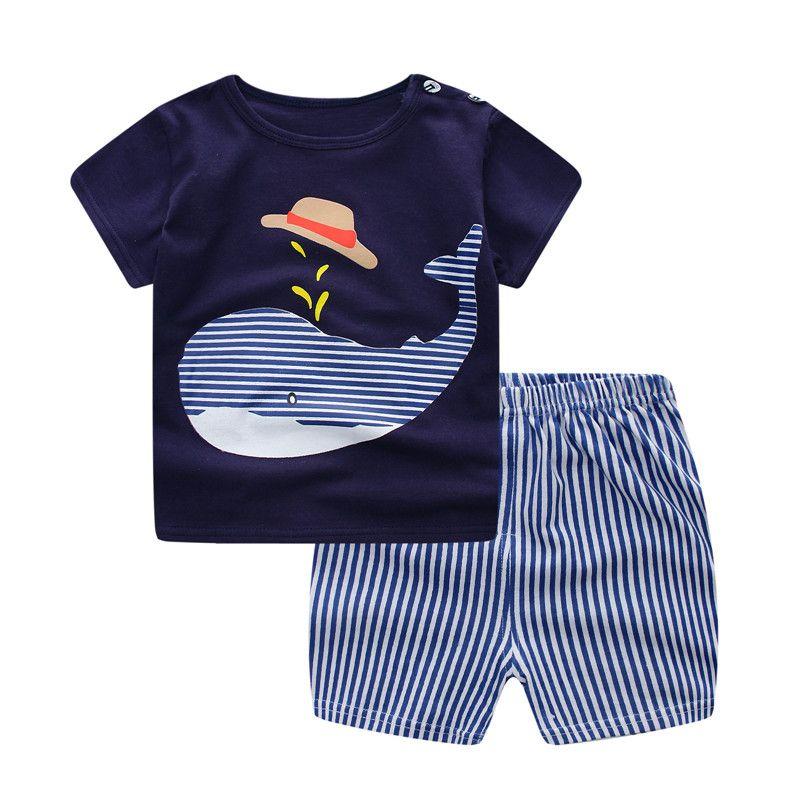 아기 소년 의류 여름 2018 신생아 아기 소년 의류 세트 코튼 베이비 의류 양복 (셔츠 + 바지) 격자 무늬 유아 의류 세트