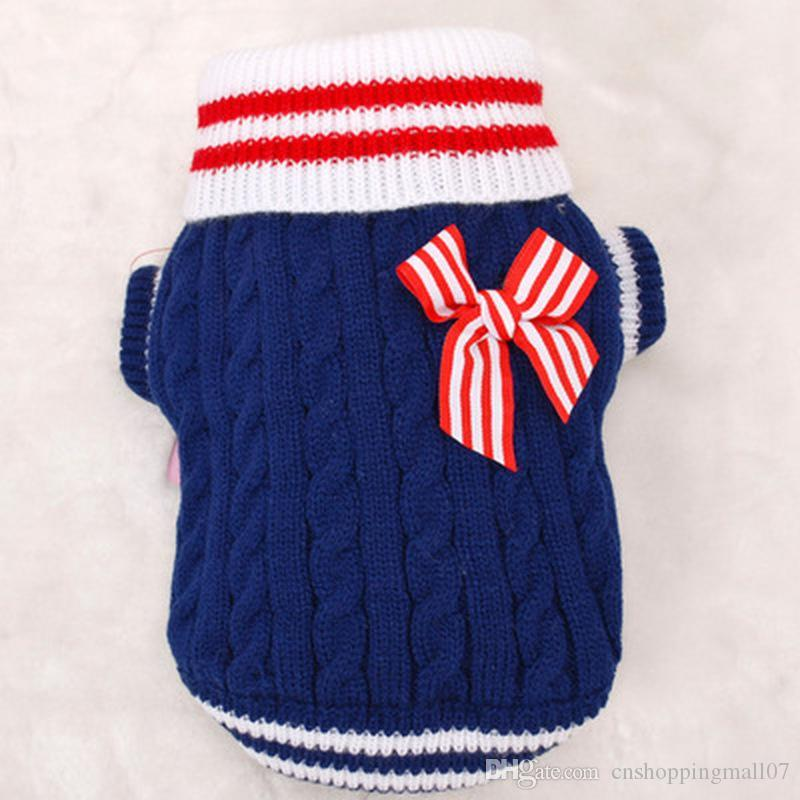 Ropa de moda de la Armada suéter del perro para pequeñas y grandes ropa para perros Para chihuahua ropa de invierno 5 colores del tamaño XXS-L