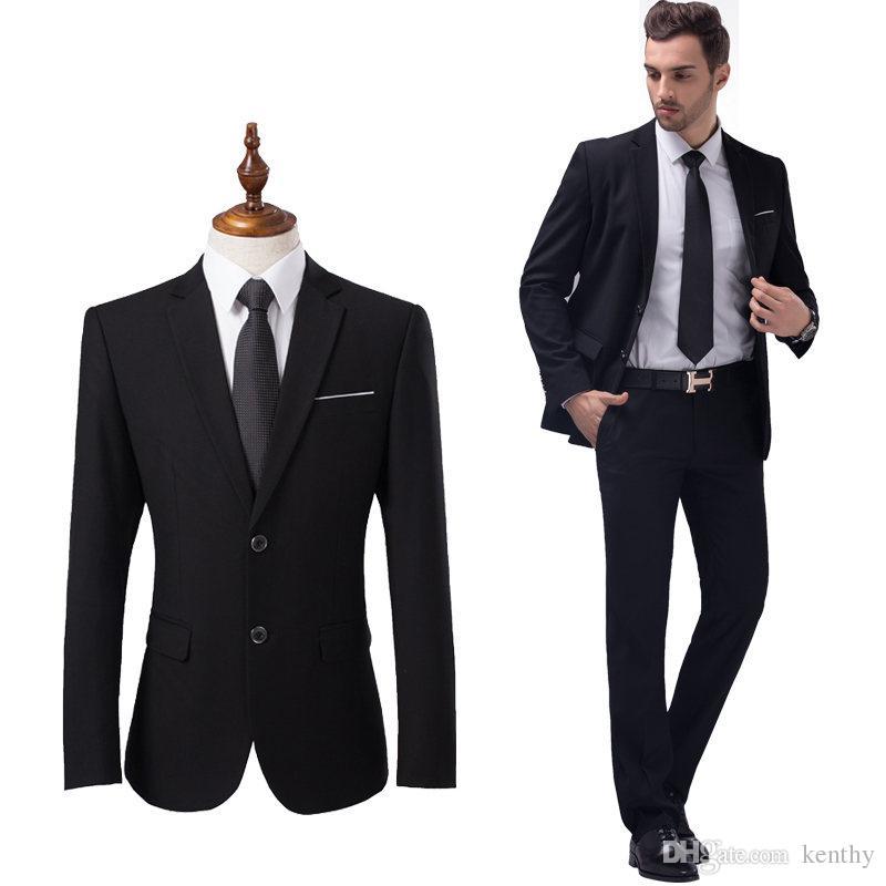 Formal Ternos De Homens De Negócios Preto Entalhado Lapela Slim Fit Ternos De Casamento Noivo 2 Peça Custom Made Melhor Homem Terno Masculino Tuxedo Blazer