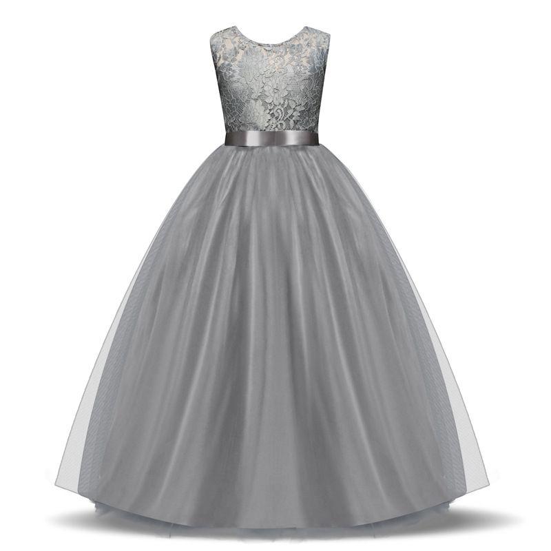 Großhandel Scoop Lace Flower Girls 'Kleider bodenlangen Mädchen Festzug Kleider ärmelloses Mädchen Kommunion Kleid 2018