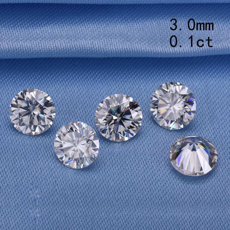 اجتياز اختبار الماس 3.0mm 0.1ct جولة بريليانت قطع المويسانتي حجر فضفاض لخواتم الخطبة سعر جيد S923