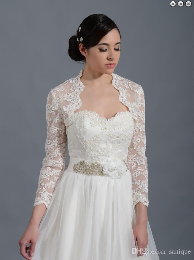 36cb200303f8c 2018 vintage lace applique Long Sleeves Lace Bolero with Keyhole Back  Bridal Jacket for Brides Wedding ...